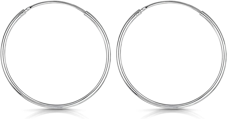 Amberta® Cerchi in Argento Sterling 925 Con Gancetto – Orecchini Creoli Sleeper A Cerchio – Diametro: 20 30 40 60 80 mm