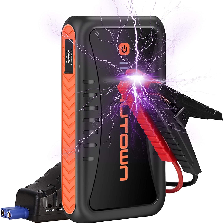 AUTOWN - Avviatore per Auto con Powerbank, 10000 mAh, 500 A, Corrente di Picco, Dispositivo di avviamento per Batteria Auto con Uscita da 12 V