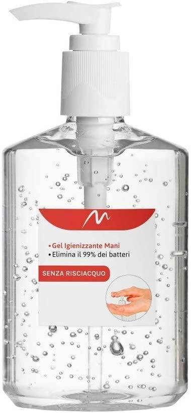 Mediawave Store - GEL Igienizzante Mani BATTERICIDA Soluzione Concentrata gel con dosatore 500 ml disinfettante germi e batteri, liquido con antibatterico, deterge a fondo