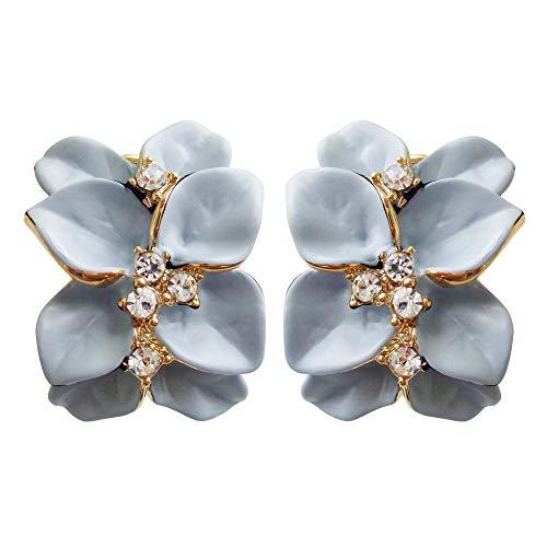 Navachi Omega orecchini placcati in oro da 18 k, smaltati, in cristallo, a forma di fiore con foglie e 18ct base metallo placcato oro, colore: Azzurro, cod. HB6-2862-3