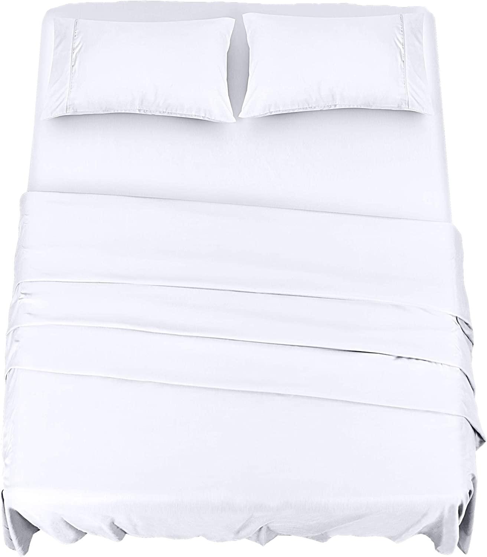 Utopia Bedding - Set Lenzuola Letto - Spazzolata Microfibra - Lenzuola e 2 Federe - per la Letto 150 x 200 cm (Bianca, King)