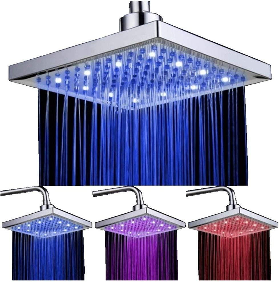 DELIPOP, soffione per doccia quadrato con 12 LED, 20,3cm, con controllo della temperatura, cambia in 3 colori, flusso potente, in ABS cromato, per il bagno