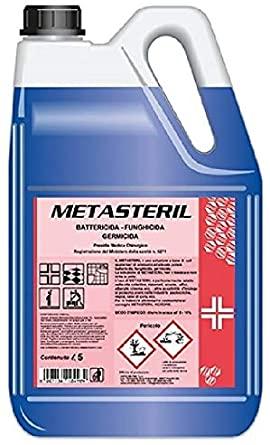 Metasteril profumato disinfettante con sali quaternari di ammonio registrazione Presidio Medico Disinfettante Igienizzante cartone da 4 taniche lt.5