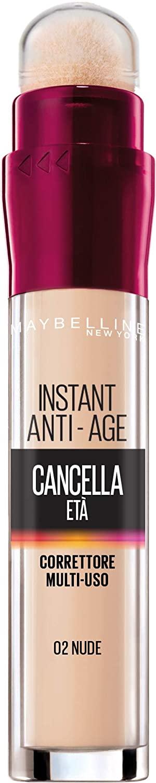 Maybelline New York Correttore Liquido Il Cancella Età con Bacche di Goji e Haloxyl, Copre Occhiaie e Piccole Rughe, Confezione Singola, 02 Nude