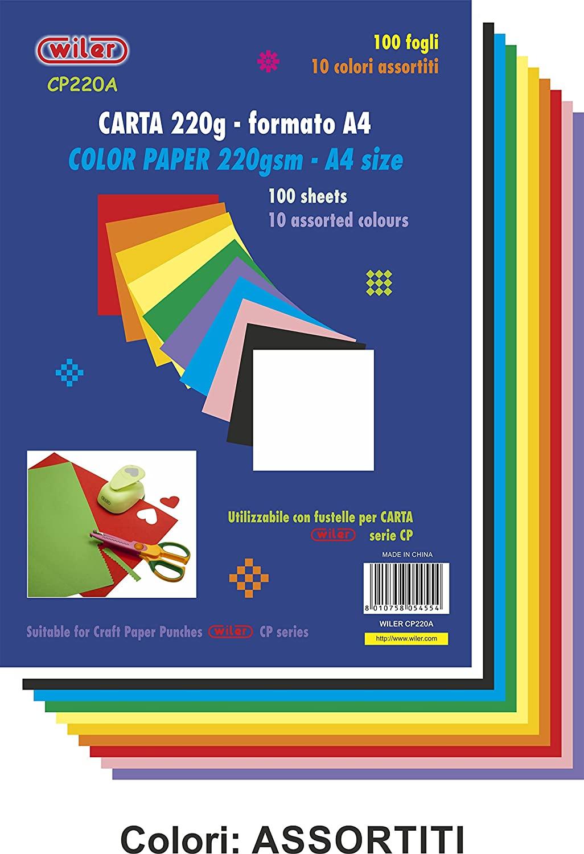 Wiler CP220A Confezione da 100 Fogli di Carta Colorata 220gsm Formato A4 Colori Assortiti