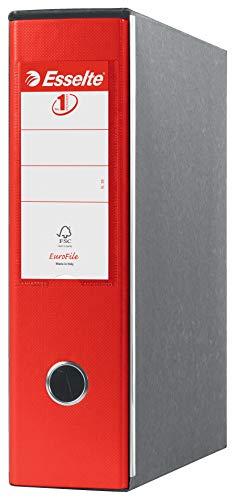 Esselte Raccoglitore Eurofile con meccanismo a leva e con custodia, Formato Commerciale, Cartone rivestito in plastica, Dorso 8 cm, Rosso, 390753160