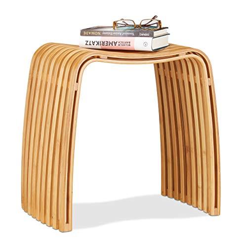 Relaxdays 10021491 Sgabello da Ingresso in Bambù Elegante Pouf di Legno Design Scandinavo Sediolina per Guardaroba Beige