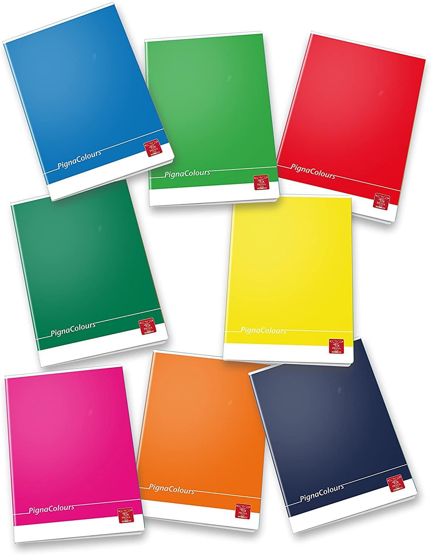 Pigna Colours 02298865M, Quaderno formato A4, Rigatura 5M, quadretti 5 mm per 2° e 3° elementare, Carta 80g/mq, Pacco da 10 Pezzi
