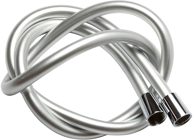 Krodo 1.5m Tubo Doccia Flessibile In Argento PVC Di Ricambio Universale, Antipiega E A Prova Di Perdite E Resistente Ad Alta Temperatura Connettore In Ottone