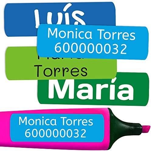 50 Etichette Adesive Personalizate per contrassegnare libri e portapranzo. Misura 6 x 2 cm. (Colore 5)