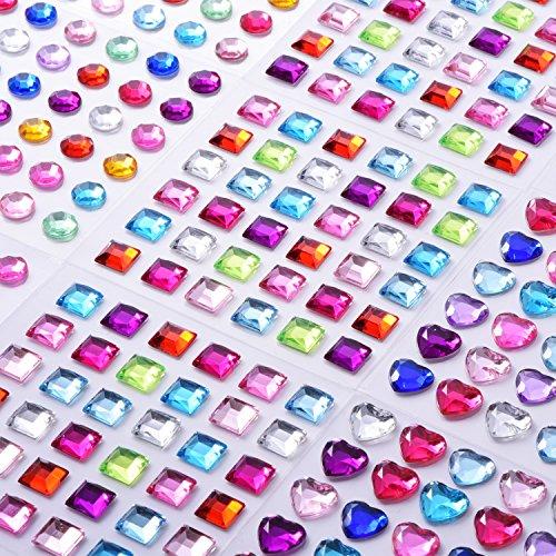9 Fogli strass Autoadesivo Adesivi Cristallo Gemma Fogli per Fai Da Te Bricolage Decorazione, Colori Assortiti, Quadrato, Rotondo e a Forma di Cuore