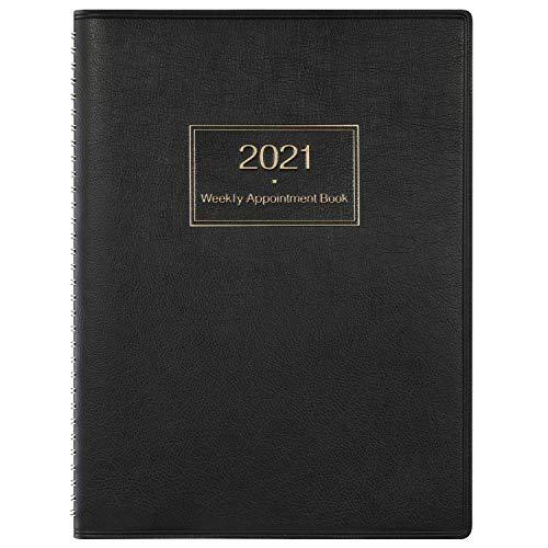 Agenda 2021 Settimanale A4, Agenda Settimana per visualizzare il pianificatore orario in 15 minuti, 21,8 x 29 cm, Libro degli appuntamenti con copertina morbida con rilegatura ad anelli, Nero