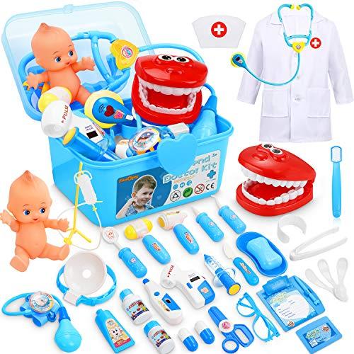 Fivejoy Valigetta Dottore Bambini, 43pz Gioco Dottore Bambini - Dottore Giochi di Ruolo Bambini, Kit Dottore Medico Giocattolo con Custodia per Il Trasporto Rosa
