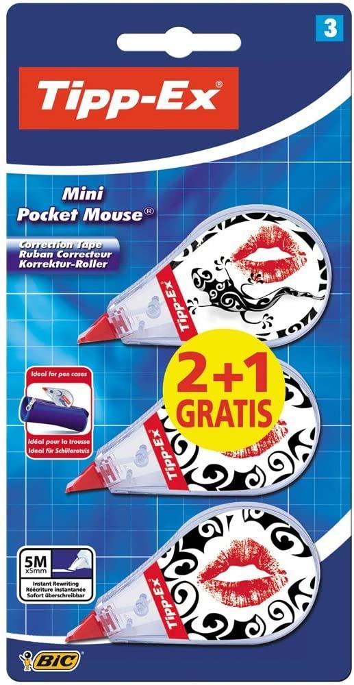 Bic Tipp-Ex Mini Pocket Mouse Decorated correttore a nastro formato pocket con decori confezione 3