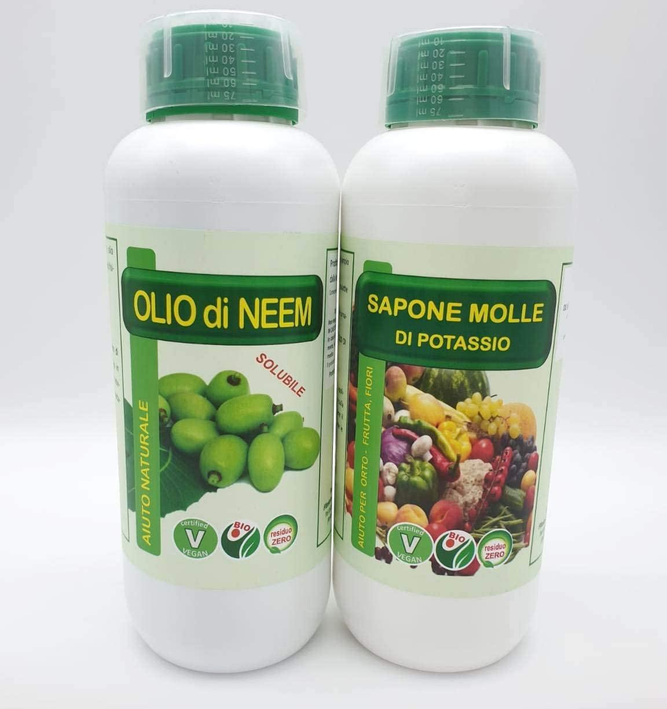 FITOKEM Duo Kit Olio di Neem per Piante 1 lt + Sapone Molle di potassio corroborante 1 lt