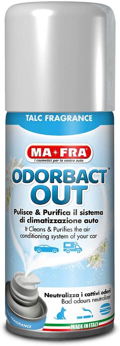 Mafra, Odorbact Out Talc Fragrance, Spray Purificante per Climatizzatori Auto, Neutralizza i Cattivi Odori e Rilascia una Piacevole Fragranza al Talco, Formato 150ml