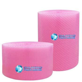 1 rotolo di pluriball rosa antistatico, 750 mm x 25 m. Ideale per fornire protezione fisica durante il trasporto.