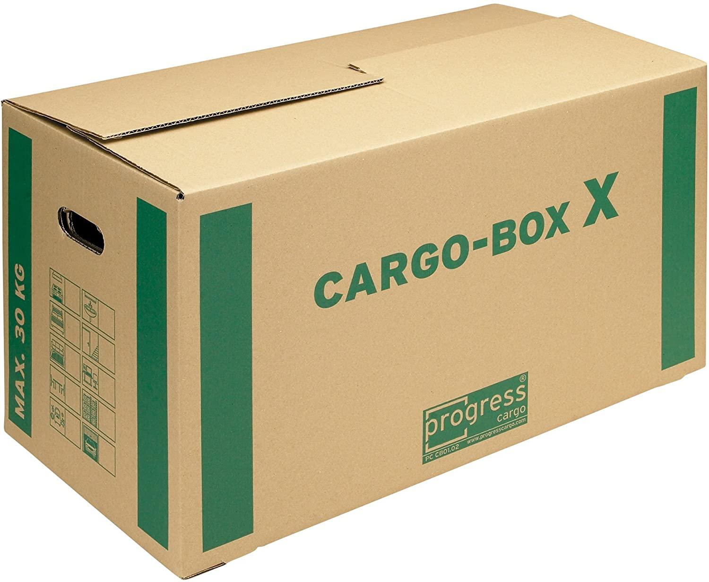 ProgressCargo PC CB01.02 - Scatole di cartone ondulato a 1 strato, per trasloco, ecologiche, 637 x 340 x 360 mm, confezione da 10 pezzi, colore: marrone