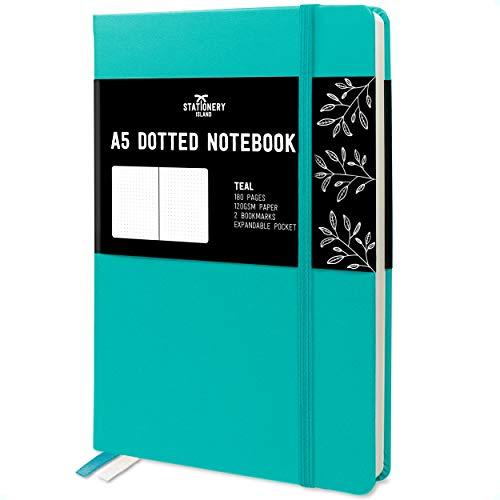 Stationery Island Quaderno Puntinato A5 – Turchese. Bullet Journal Con Copertina Rigida, 180 Pagine e Carta Premium 120gsm. Per Appunti, Agenda, Studio, Viaggi, Diario e Progetti.