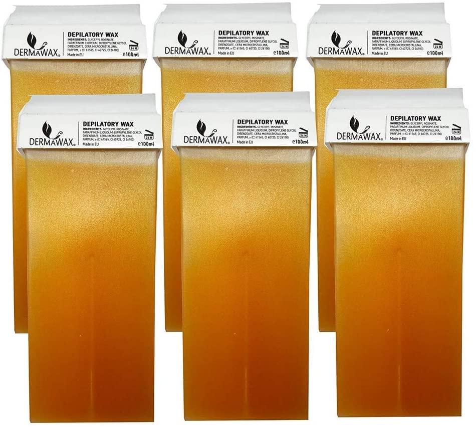 Dermawax rullo ceretta - 6 cartucce di cera a caldo a base di miele, da 100 ml, per depilazione- Made in Italy