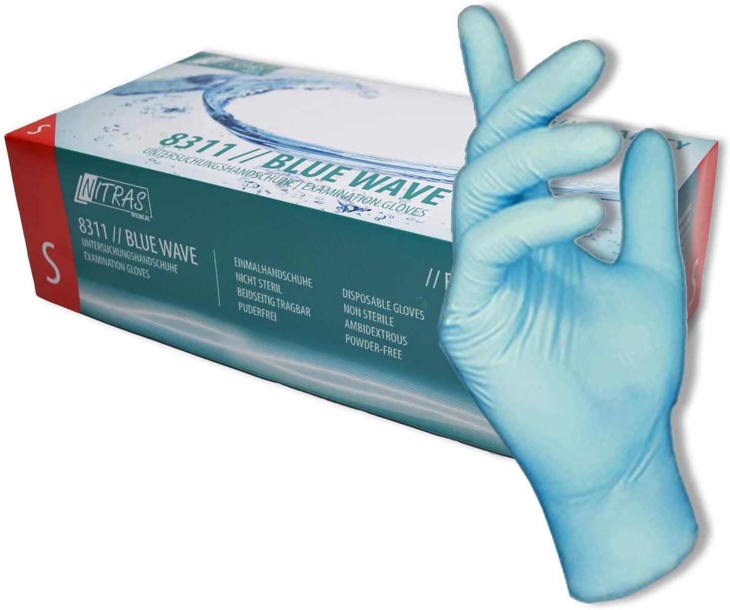 Confezione da 100 pezzi. 1 confezione di guanti usa e getta, EU Schutz, guanti in nitrile blu senza talco, per tatuaggi, da cuoco, Blu