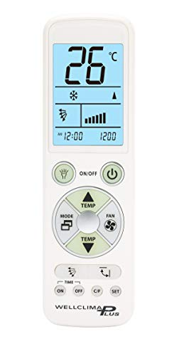 Wellclima PLUS telecomando universale per condizionatore climatizzatore Top Quality, display e tastiera retroilluminati, luce led illuminazione notturna