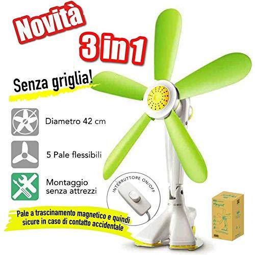 CFG Ventilatore Da Tavolo Parete Con Clip Ev058 Margherita Pale Flessibili 3in1