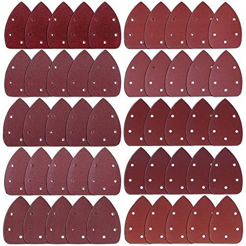 austor 50 pezzi mouse dettaglio sander carta vetrata levigatura carta hook e loop e altri 40 / 60 / 80 / 100 / 120 / 180 / 240 / 320 / 400 / 800 polenta