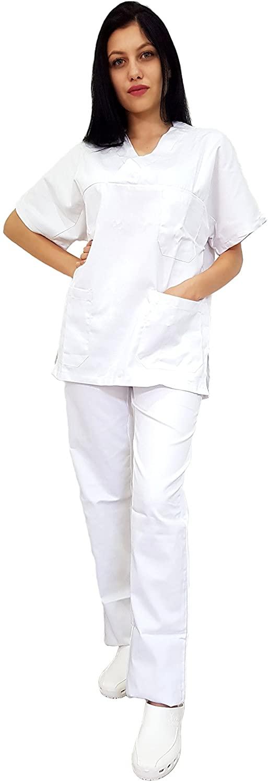 Tecno Hospital Casacca OSPEDALIERA, OSS, ESTETICA Infermiere, Medico, Sanitario, Laboratorio 2 Tasche Anteriori con Taschino, Spacchi Laterali, Scollo A V, Unisex