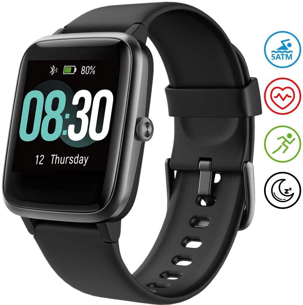 UMIDIGI Smartwatch Fitness Tracker Orologio Uwatch3, Smart Watch Donna Uomo Bambini Cardiofrequenzimetro da Polso Contapassi Impermeabile 5ATM per Android iOS Xiaomi Samsung Huawei - Nero