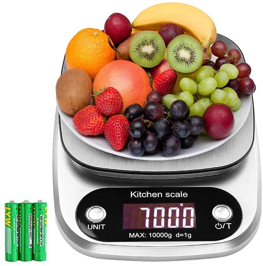 Bilancia da Cucina, 10Kg/1g Bilancia Elettronica Digitale Alta Precisione Misurazione Display LCD Multifunzione da Cucina e Acciaio Inossidabile (3 Batterie Incluse) (Bianco) (10kg)