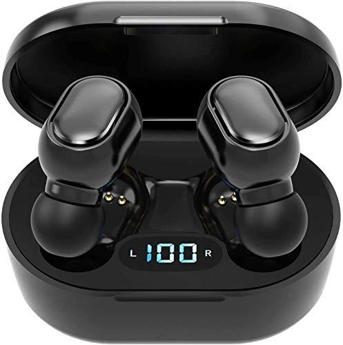 Cuffie intrauricolari Bluetooth 5.0 wireless con scatola di ricarica, microfono integrato, controllo touch, durata 40 ore, audio stereo 3D HD, per iOS e Android-J17