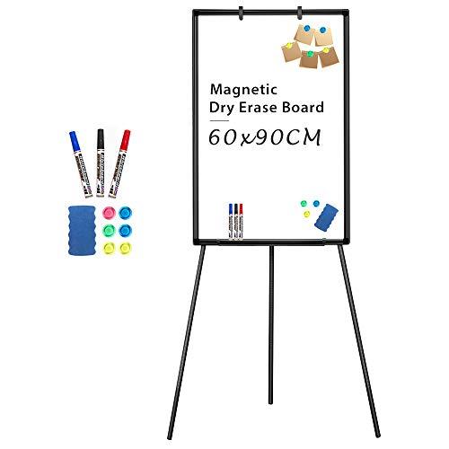 Lavagna magnetica portatile bianca con cavalletto, 90 x 60 cm, supporto per lavagna cancellabile a secco, altezza regolabile, per ufficio o insegnamento a casa e aula 90x60 Nero