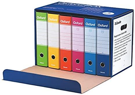 Esselte Oxford Box 390785110 6 Raccoglitori Oxford con Scatola, Formato Protocollo, Cartone, Dorso 8 cm per Raccoglitore, Multicolore