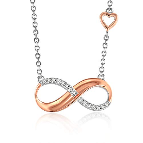 Collana con ciondolo a forma di infinito, placcata in oro rosa, con catenina in scatola, confezione regalo con fiocco bianco
