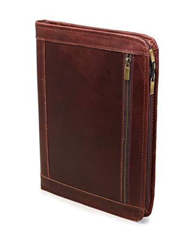 Jaald, portafoglio professionale in vera pelle, realizzato a mano, per uomini e donne, in pelle resistente, con tasche per documenti e blocco note, compatibile con iPad Pro 12,9