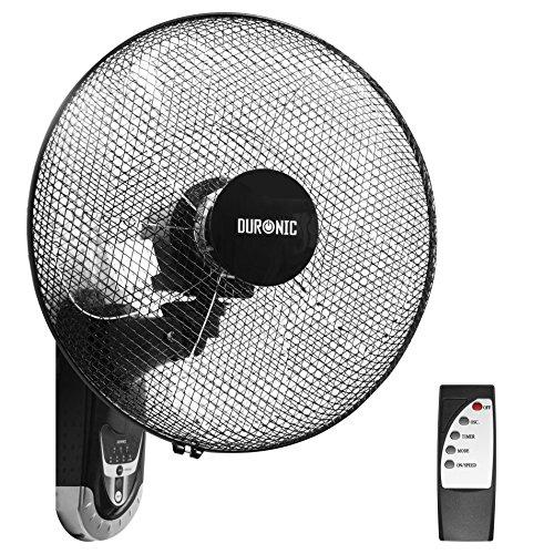 Duronic FN55 Ventilatore turbo oscillante a parete 60W – 5 Pale Ø 40 cm – Telecomando 3 Velocità e timer integrato – Motore potente e silenzioso – Montaggio e smontaggio rapido