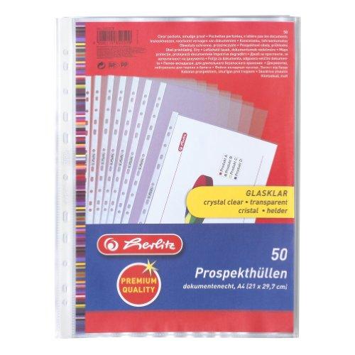 Herlitz - Cartelline trasparenti formato A4, con fori laterali, per raccoglitore, confezione da 50 pezzi