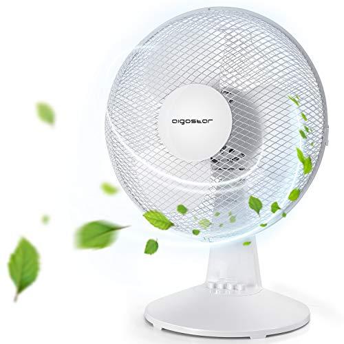 Aigostar Allace 33JTO - Ventilatore da tavolo, silenzioso, 3 impostazioni di velocità, 40 Watt, 45,2 cm, 2,5 kg, oscillazione di 80 gradi. Design esclusivo