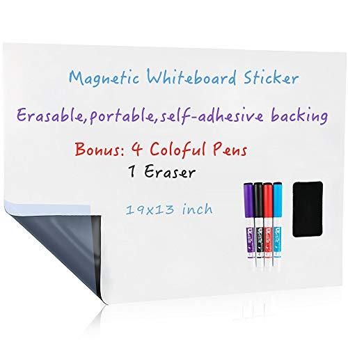 UCMD - Lavagna magnetica cancellabile a secco, adesivo da parete, retro autoadesivo, per bambini, cavalletto o ufficio 19x13 inches