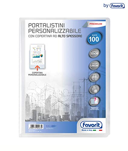 Favorit 400090488 - Portalistino Personalizzabile Premium, 100 Buste, Trasparente