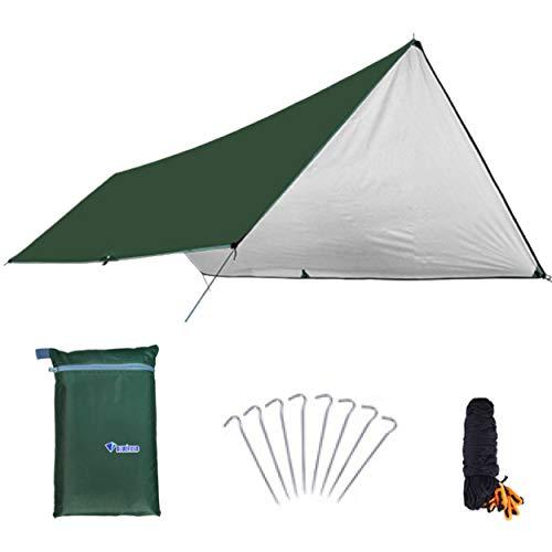 Azarxis Telo Impermeabile Parasole da Campeggio, Tarp Telo Ombreggiante da Sottotenda Campeggio Amaca, Tappeto da Picnic BBQ (Oliva - Telo Innovativo, S - 3 x 4 m)