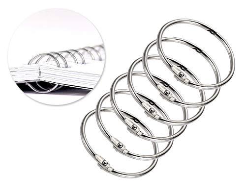 FGF Anelli di rilegatura in metallo di forma rotonda da 5,1 cm, per album fotografici, rilegatura di fogli sfusi, colore: argento, 10 pz.