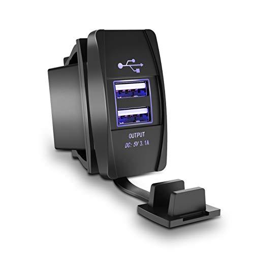 TurnRaise 3.1A Doppio Caricabatterie presa USB Adattatore di Alimentazione per 12V/24V Auto Barca Motociclo