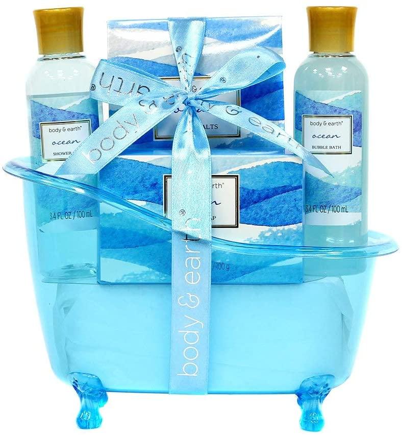 Cestini regalo spa per donna, Body & Earth Set regalo da bagno Set da bagno profumato all'oceano 5 pezzi , la migliore idea regalo per le donne