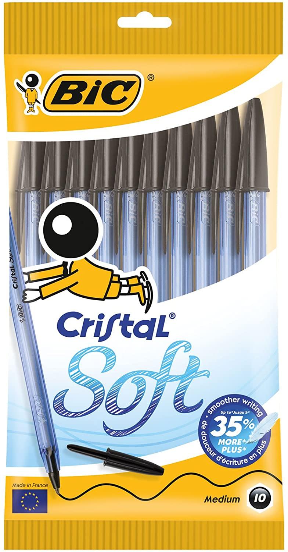 Bic Cristal Soft Punta Media 1,2 mm Confezione 10 Penne Colore Nero