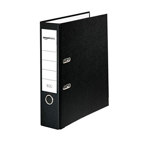 AmazonBasics - Registratore a leva con anelli D, copertina in polipropilene, inserto personalizzabile sul dorso, certificazione FSC, A4, dorso di larghezza 80 mm, nero