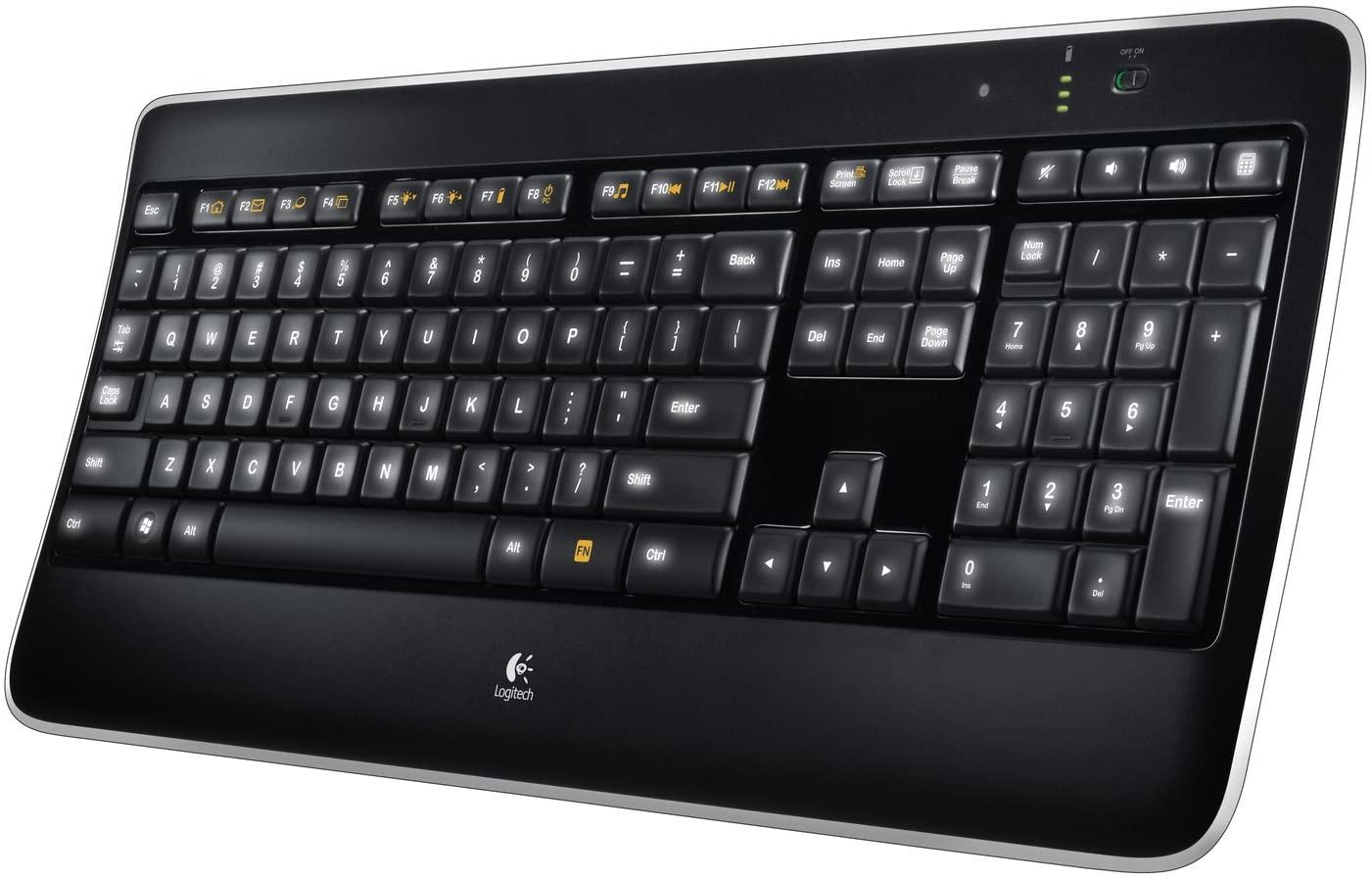Logitech K800 Tastiera Wireless 2.4 GHz Retroilluminata per Windows, con Mini Ricevitore USB Unifying, Tasti Illuminati Laser PerfectStroke, Ricaricabile, PC/Laptop, Layout Italiano QWERTY, Nero