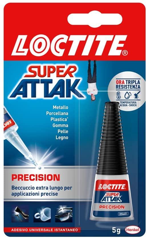 Loctite Super Attak Precision, Colla liquida trasparente con beccuccio extra lungo, Colla universale istantanea multimateriale, Colla resistente e precisa, 1 x 5g