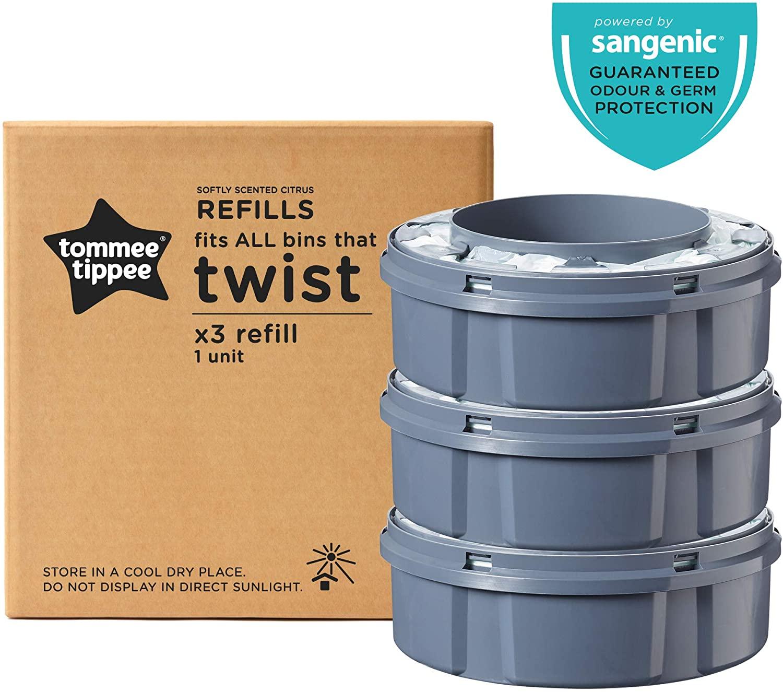 Tommee Tippee Ricariche Sangenic TEC per Sistema Avanzato di Smaltimento Pannolini Twist and Click, 3 Pezzi (compatibile con i contenitori Sangenic TEC e Twist and Click)